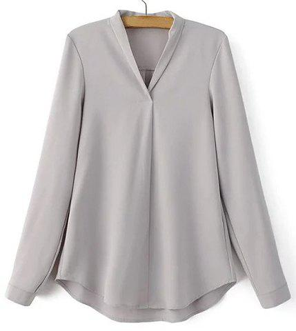 Casual V-Neck Long Sleeve Pure Color Shirt For Women - GRAY L