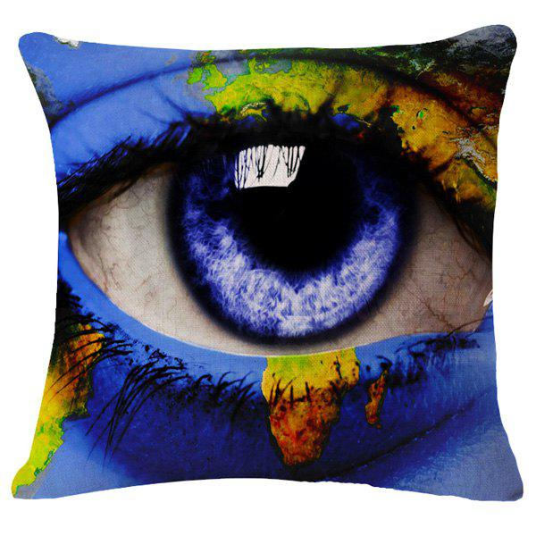 Fashion Blue Eye World Map Pattern Square Shape Flax Pillowcase (Without Pillow Inner)