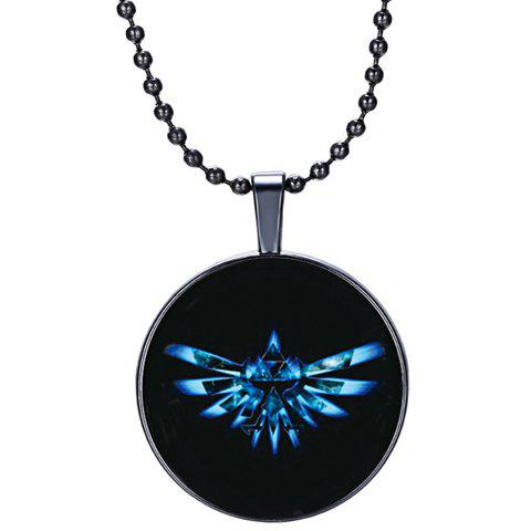 Punk Luminated Round Pendant Necklace - BLACK