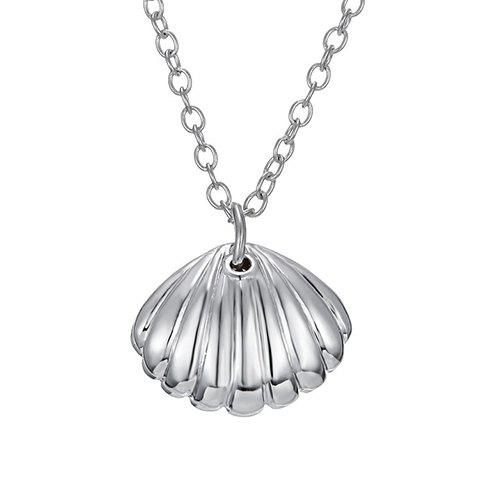Alloy Shell Heart Pendant Necklace - SILVER
