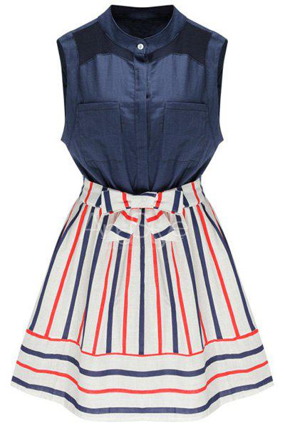 Fashionable Stand Collar Sleeveless Bowknot Decorated Dress For Women - PURPLISH BLUE M