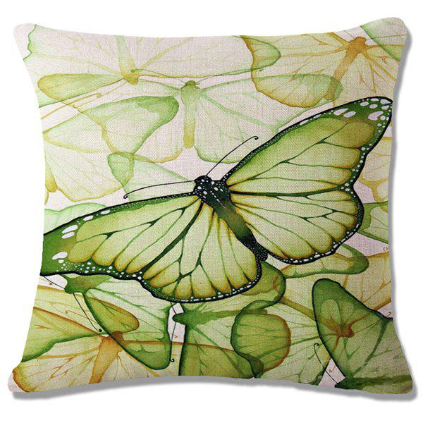 Fashion Green Butterflies Pattern Square Shape Flax Pillowcase (Without Pillow Inner)