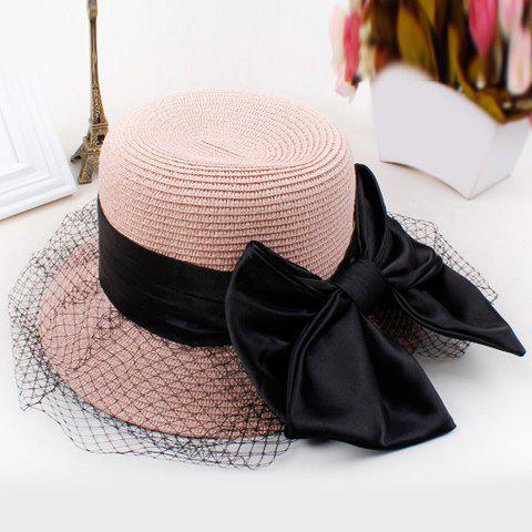 Chic Ribbon Bow and Hollow Out Mesh Veil Embellished Women's Straw Hat - PINK