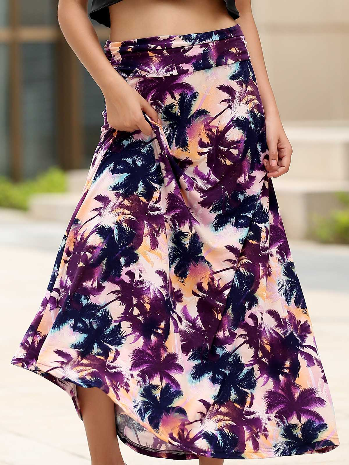 Elegant High Waist Trees Print Maxi Skirt For Women