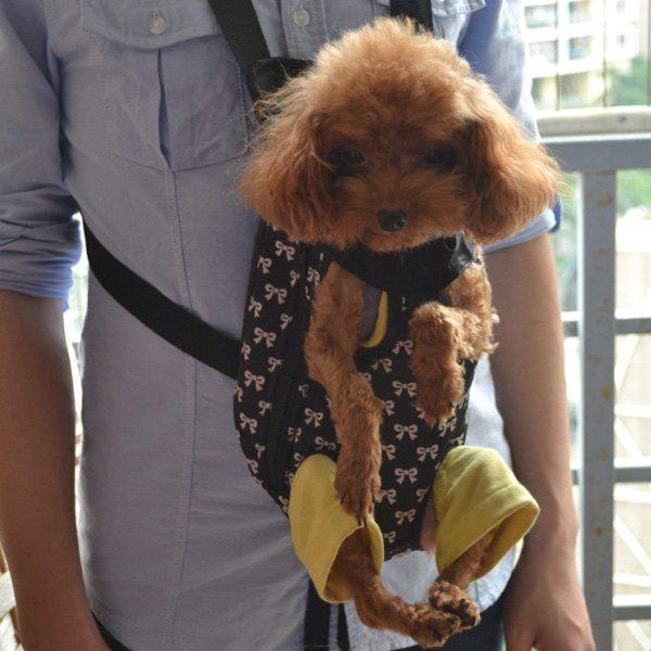 Fashionable Portable Bowknot Printing Dog Chest Backpack - BLACK L