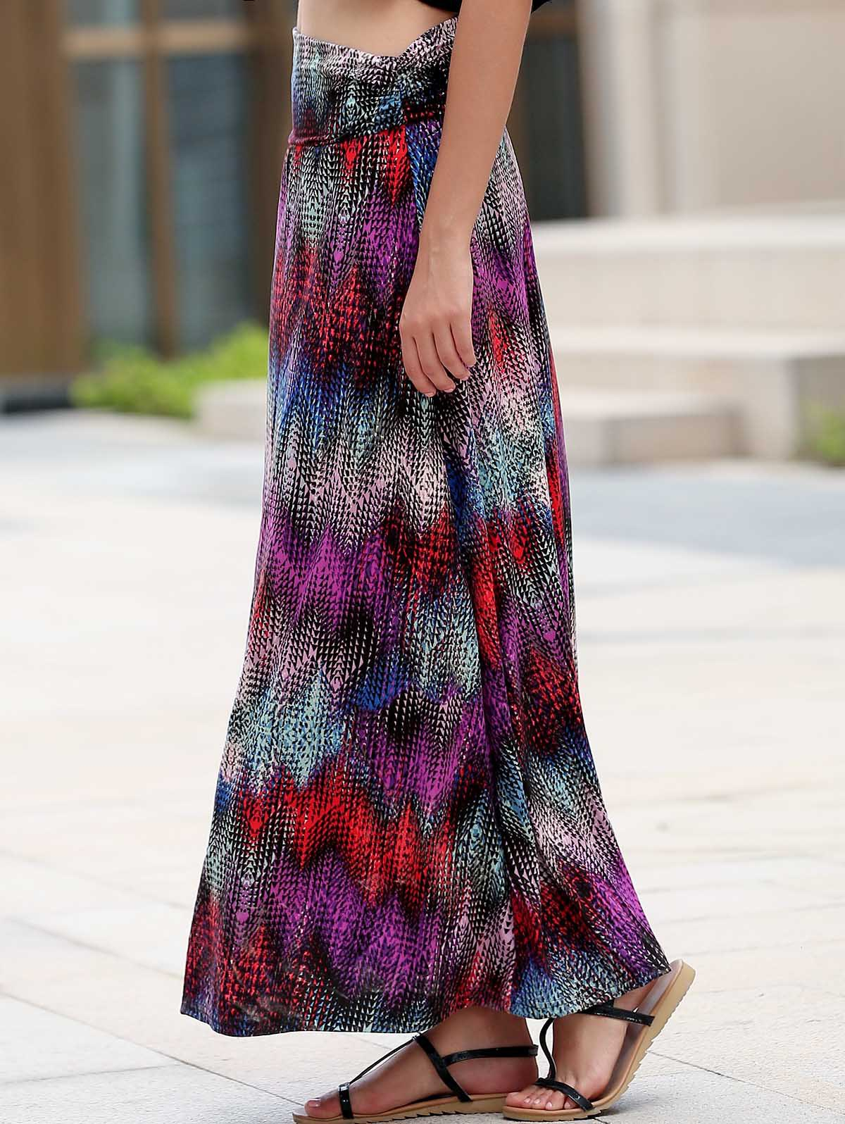Ethnic Style Multicolored Convertible  Maxi Skirt For Women - COLORMIX M