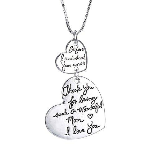Letters Double Hearts Alloy Pendant Necklace - SILVER