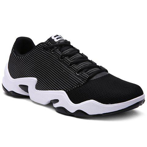 Stylish Lace-Up and Black Color Design Men's Athletic Shoes - BLACK 42