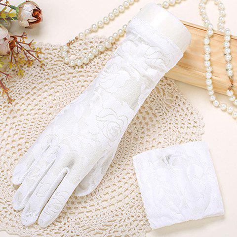 Pair of Chic See Through Rose Jacquard Women's Lace Gloves - WHITE