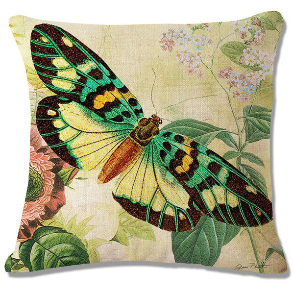 Fashion Floral Butterflies Pattern Square Shape Flax Pillowcase (Without Pillow Inner) - COLORMIX