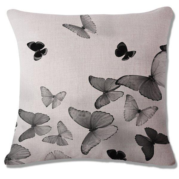 Fashion Butterflies Pattern Square Shape Flax Pillowcase (Without Pillow Inner) - BLACK GREY