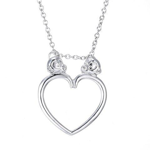 Stylish Heart Monkey Solid Color Alloy Pendant Necklace For Women
