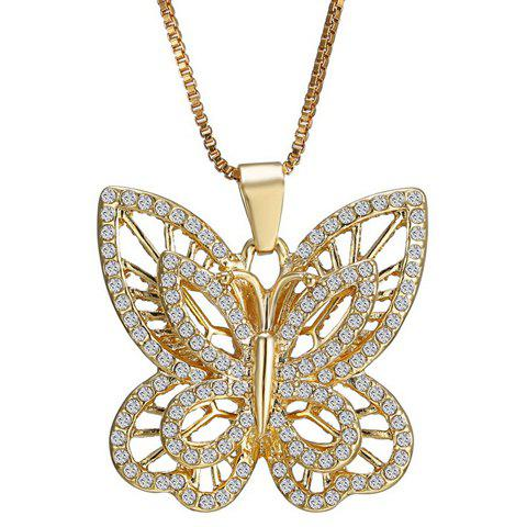 Rhinestone Hollow Out Butterfly Necklace - GOLDEN
