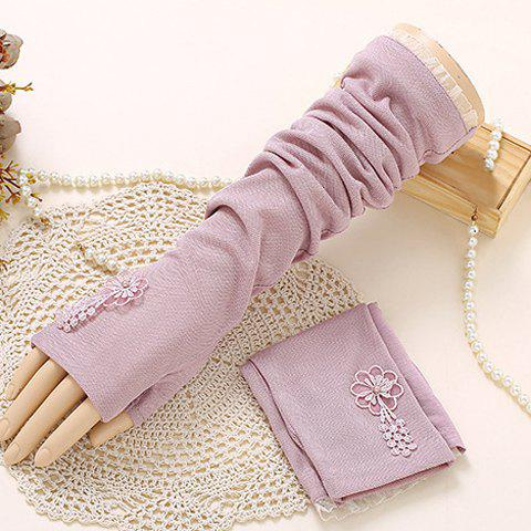 Pair of Chic Flower Embroidery Lace Edge Women's Long Fingerless Gloves - LIGHT PURPLE