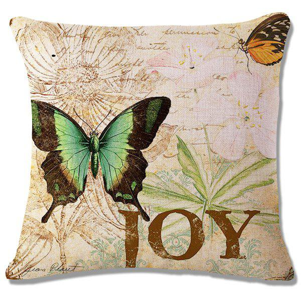 Fashion Letter Butterflies Pattern Square Shape Flax Pillowcase (Without Pillow Inner) - CELADON