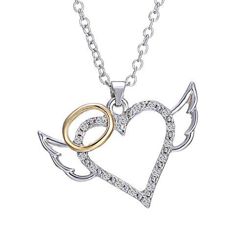 Carving Heart Wings Rhinestoned Alloy Pendant Necklace - SILVER
