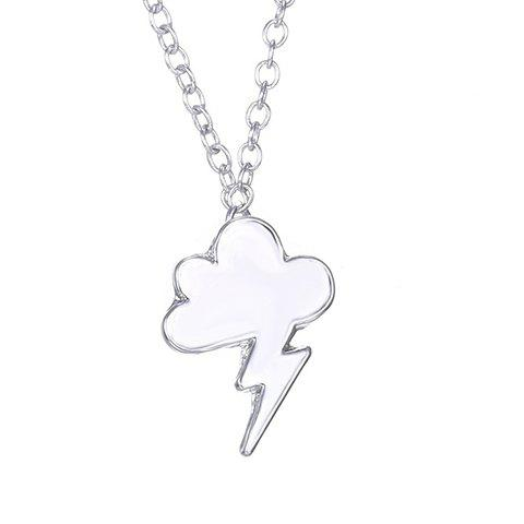 Simple Cloud Lightning Solid Color Alloy Pendant Necklace For Women