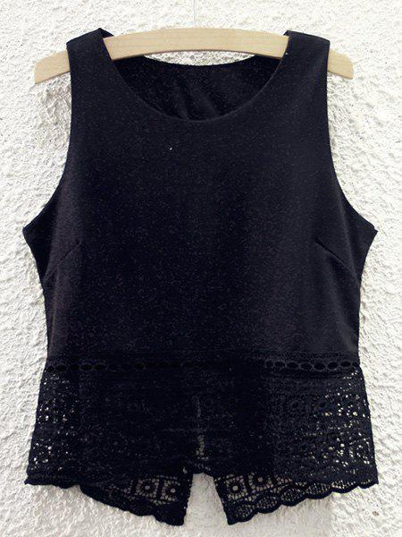 Cute Women's Round Neck Lace Spliced Hollow Out Tank Top - BLACK ONE SIZE(FIT SIZE XS TO M)