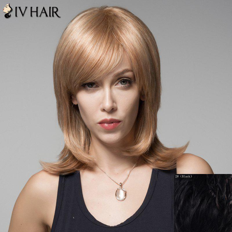 Fluffy Human Hair Side Bang Layered Siv Hair Wig For Women - BLACK