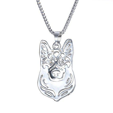 Alloy Herding Dog Hollow Out Pendant Necklace - SILVER