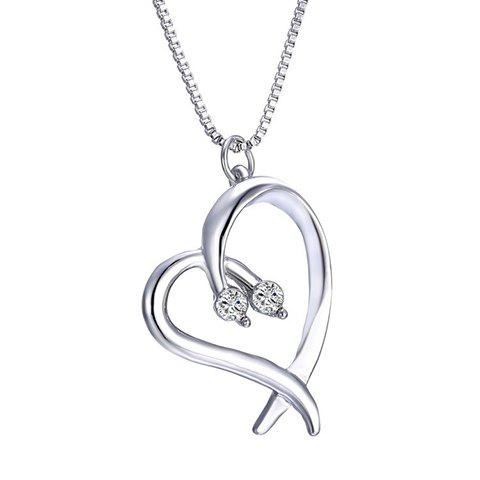 Irregular Heart Rhinestoned Alloy Pendant Necklace - SILVER