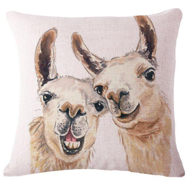 Fashion Animal Watercolor Alpaca Pattern Square Shape Flax Pillowcase (Without Pillow Inner) - COLORMIX