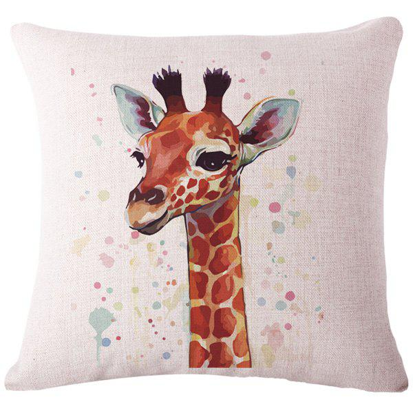 Fashion Animal Watercolor Giraffe Pattern Square Shape Flax Pillowcase (Without Pillow Inner ...