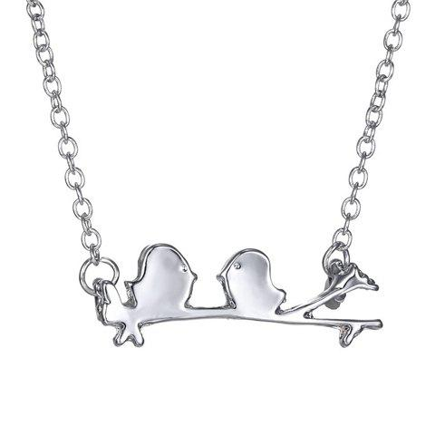 Gorgeous Solid Color Branch Bird Necklace For Women - SILVER