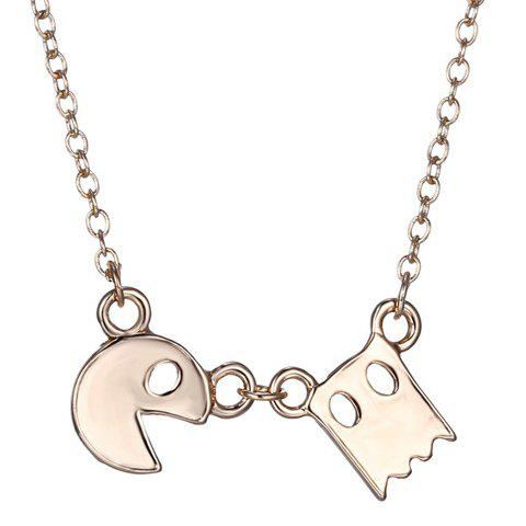 Simple Cartoon Game Pac-Man Alloy Pendant Necklace For Women - GOLDEN