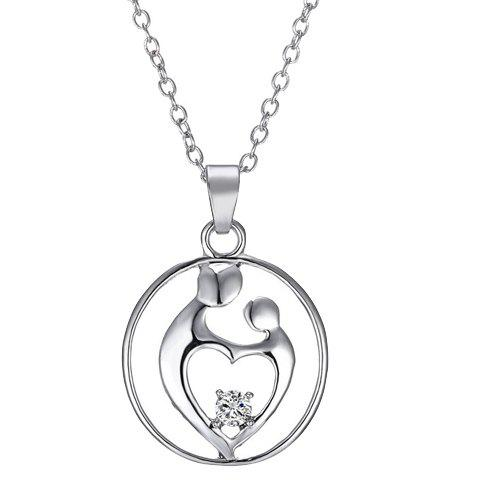Simple Rhinestone Heart Hollow Out Alloy Pendant Necklace For Women - SILVER