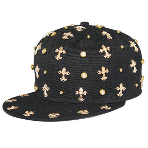 Stylish Gold Cross Shape and Rhinestone Embellished Men's Black Baseball Cap - BLACK