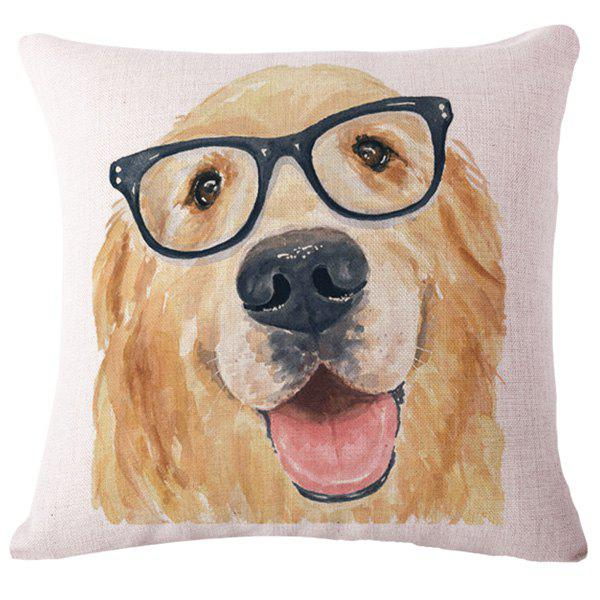 Fashion Animal Watercolor Puppy Pattern Square Shape Flax Pillowcase (Without Pillow Inner)