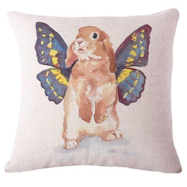 Fashion Animal Watercolor Rabbit Pattern Square Shape Flax Pillowcase (Without Pillow Inner) - COLORMIX