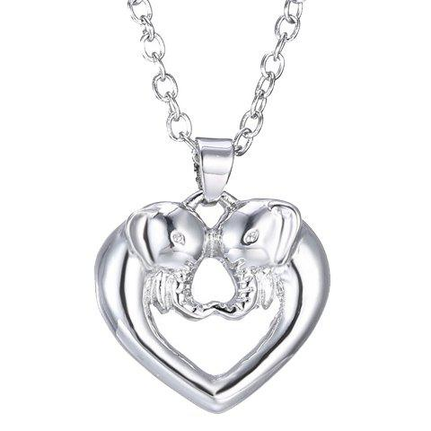 Simple Heart Elephant Hollow Out Alloy Pendant Necklace For Women