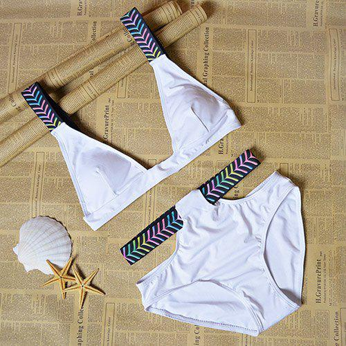 Chic Women's Colorful Shoulder Straps Bikini Top and Hollow Out Briefs