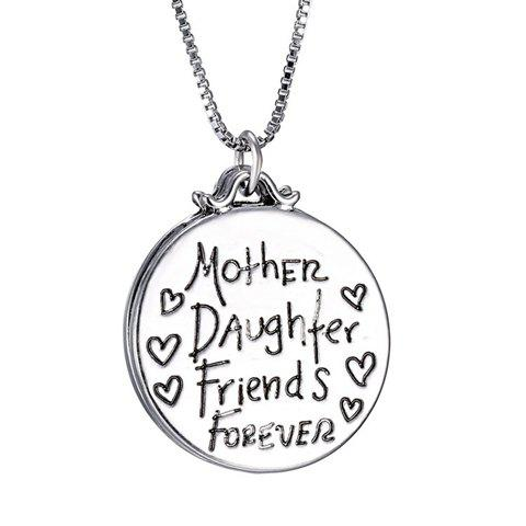 Engraved Letter Round Pendant NecklaceJewelry<br><br><br>Color: SILVER