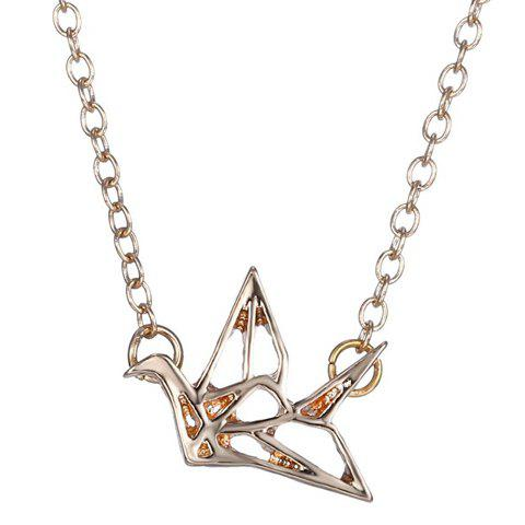 Simple Paper Crane Hollow Out Alloy Pendant Necklace For Women - GOLDEN
