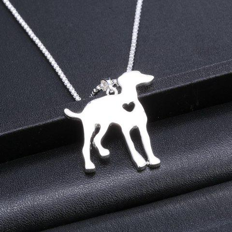 Hollow Out Heart Dog Pendant Necklace - SILVER