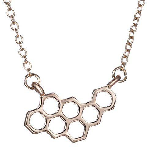 Simple Honeycomb Hollow Out Alloy Pendant Necklace For Women - GOLDEN