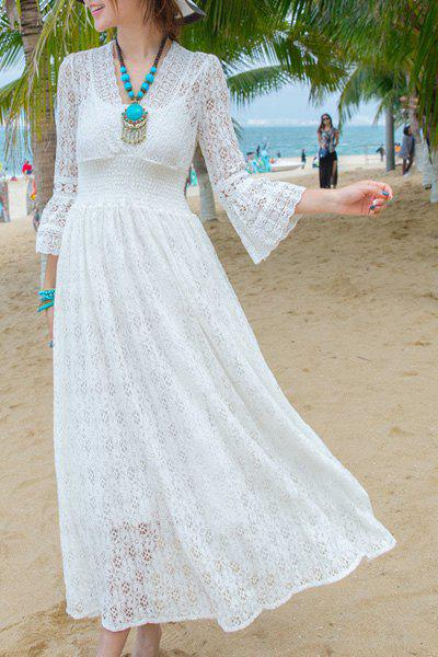 Sweet V-Neck 3/4 Sleeve White Women's Beach Dress - WHITE M
