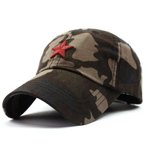 Stylish Five-Pointed Star Shape Embroidery Camouflage Pattern Men's Baseball Cap - COFFEE