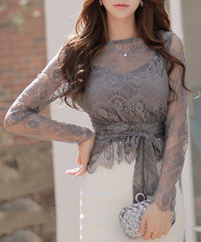 Charming Long Sleeve Round Neck Cut Out Lace Self-Tie Women's Blouse - GRAY L