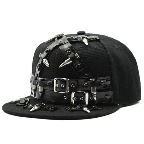 Stylish Belt Buckle and Bullet Embellished Men's Black Baseball Cap - BLACK