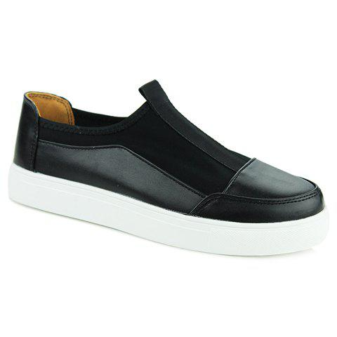 Concise Splicing and PU Leather Design Casual Shoes For Men - BLACK 39