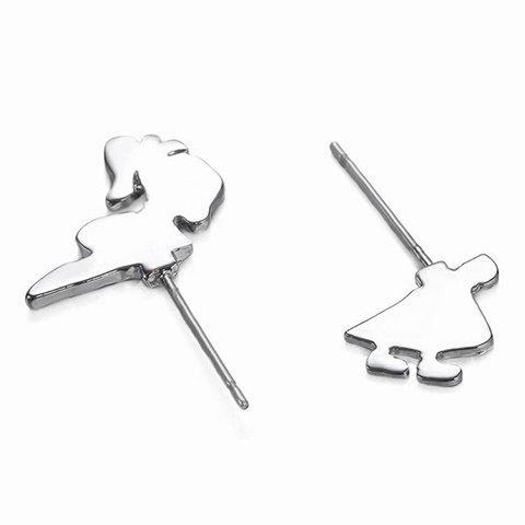 Pair of Simple Cartoon Girl Alloy Stud Earrings For Women - SILVER