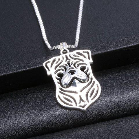 Cute Pug Hollow Out Pendant Necklace For Women - SILVER
