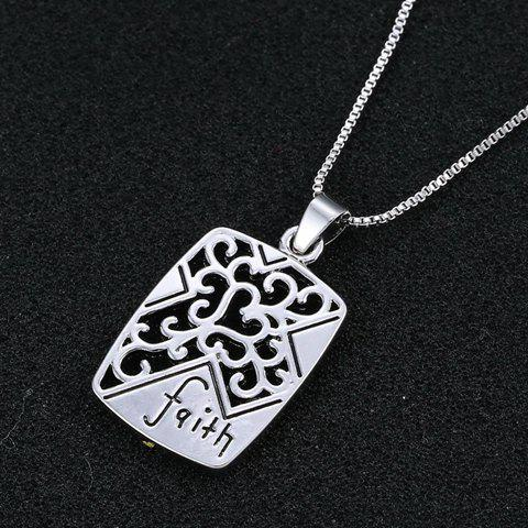Delicate Cross Heart Faith Pendant Necklace For Men - SILVER