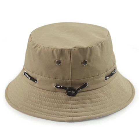 Stylish Letter Print Drawstring Embellished Solid Color Bucket Hat