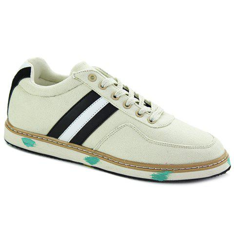 Stylish Stripes and Suede Design Men's Casual Shoes - OFF WHITE 43