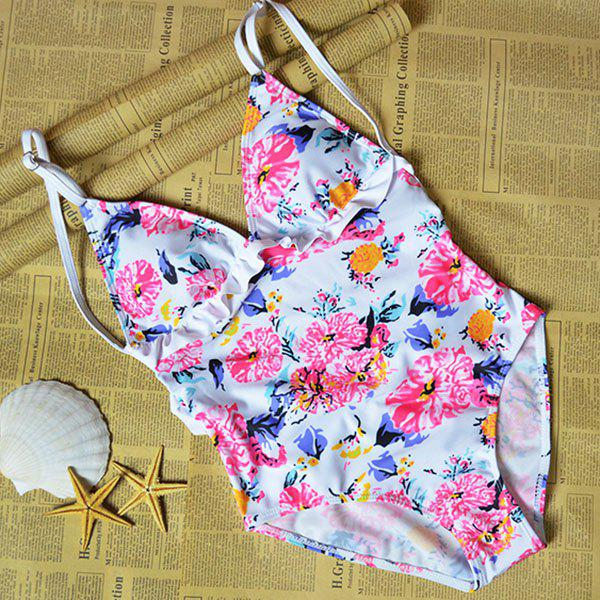 Chic Women's Plunging Neck Floral Print Backless Swimwear